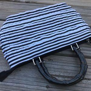 Braciano Women Handbag Black White Fabric Bamboo